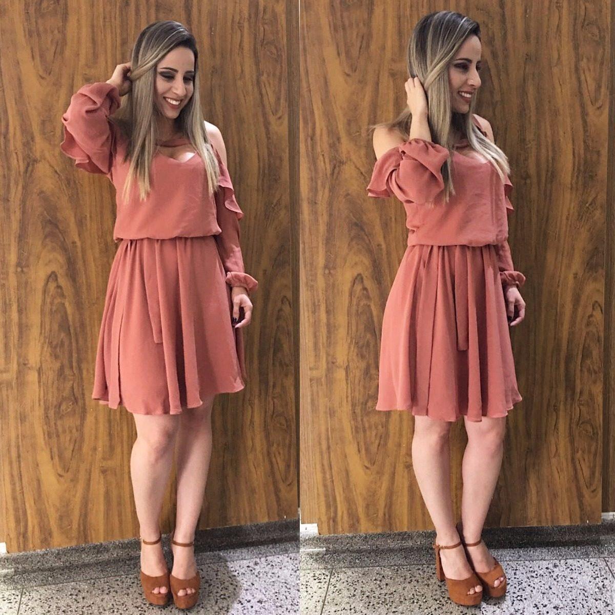 28d3b69e56 Vestido Feminino Curto Saia Godê - R  35