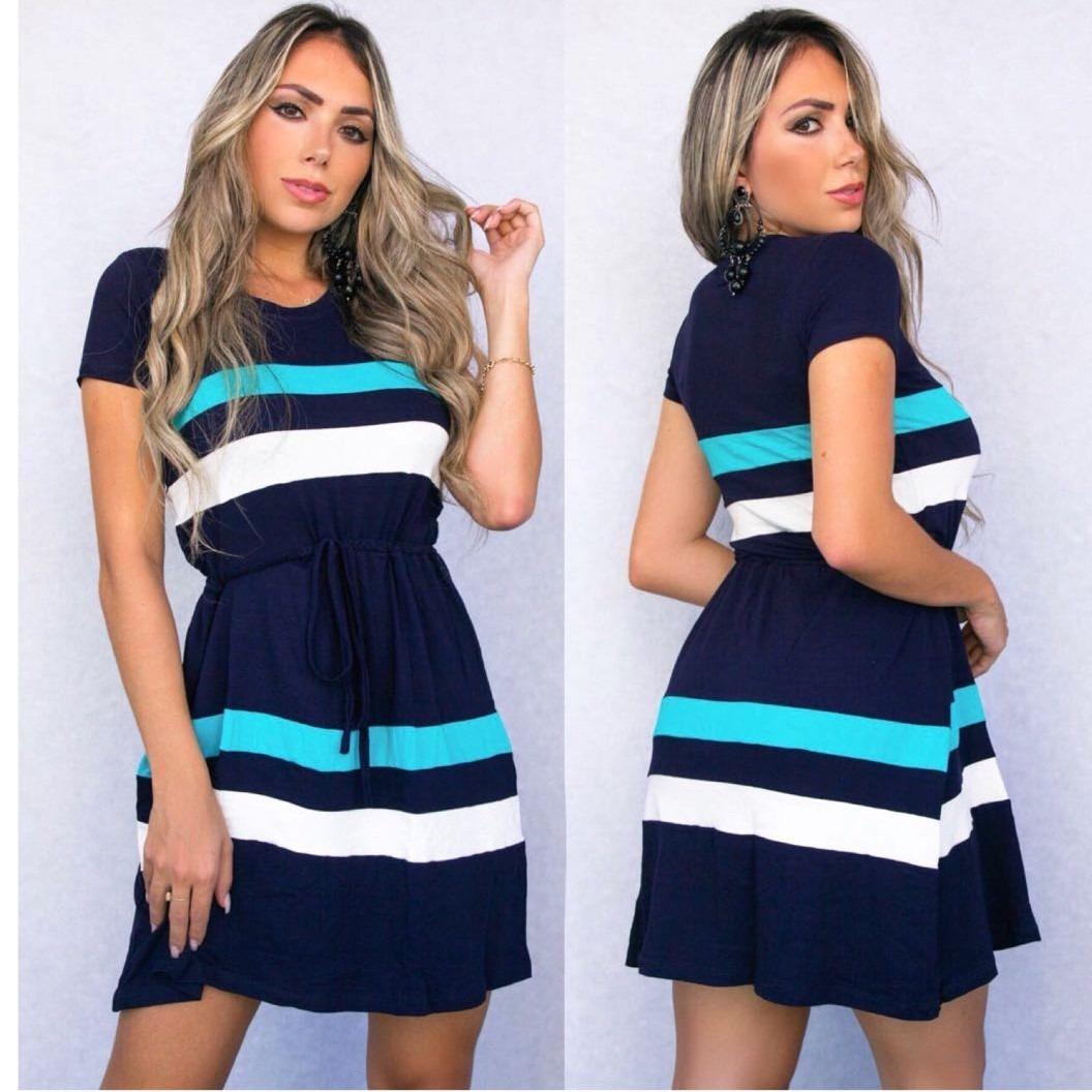 b9374d250 Vestido Feminino Curto Malha Cintura Elástico Casual Modinha - R  54 ...