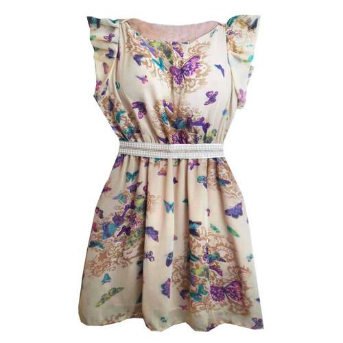 vestido feminino curto com estampa de borboletas roupas