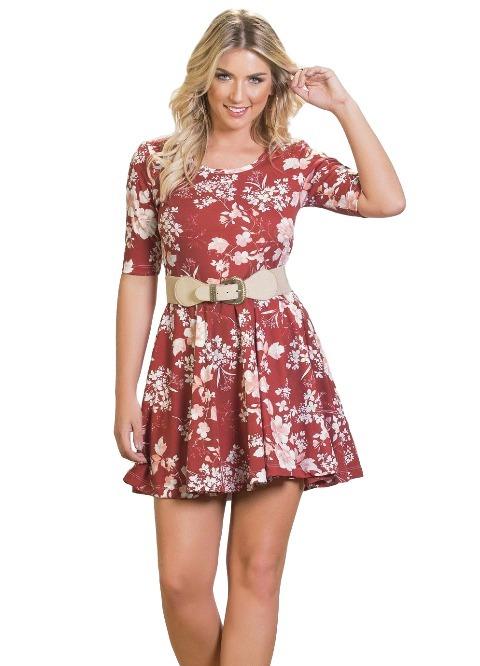 a08e36227 Vestido Feminino Curto Manga Floral Godê Oferta Exclusiva - R$ 70,90 ...