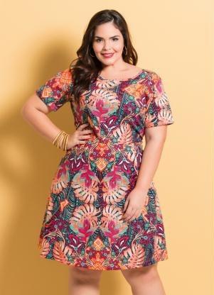 89b0ca3d5 Vestido Feminino Curto Mix Floral Plus Size Midi Estampado - R$ 77 ...