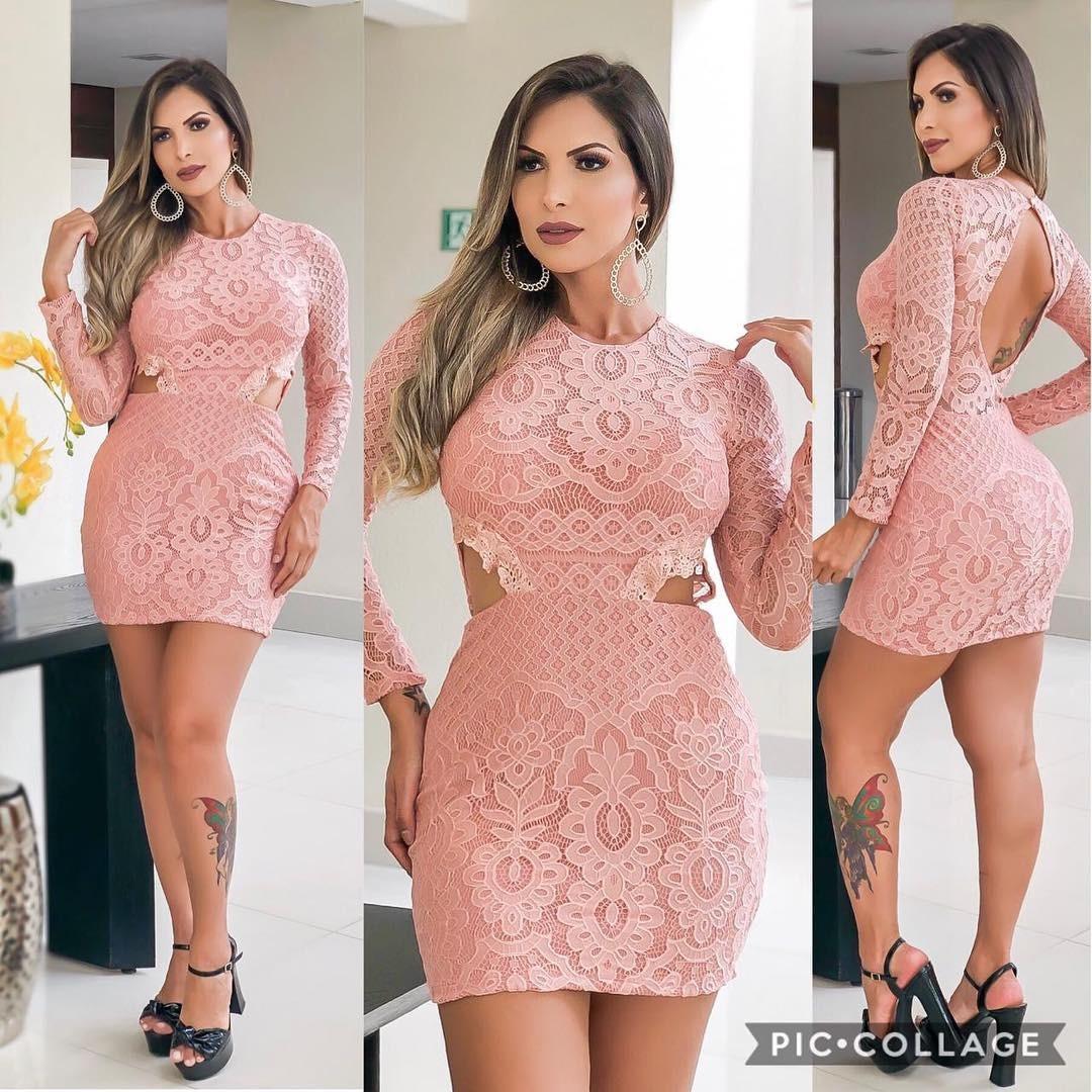 084a4647b2 Vestido Feminino Curto Festa Roupas Direto Fabrica Em Renda - R  94 ...