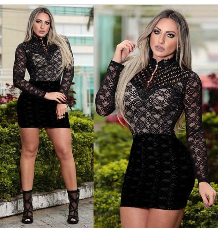 59ce22742 Vestido Feminino Curto Festa Roupas Direto Fabrica Em Renda - R  78 ...