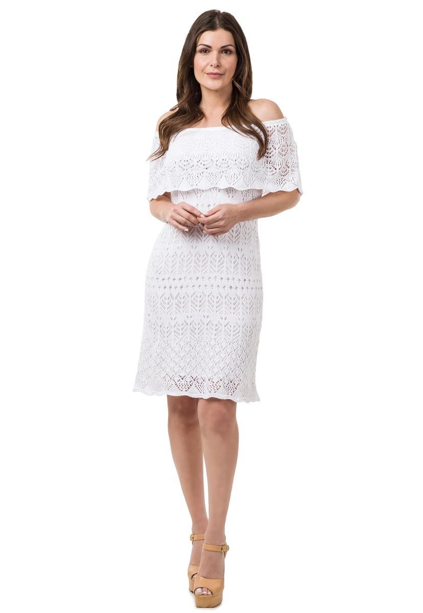 0b5e585cef vestido feminino curto tricot crochê ombro a ombro rendado. Carregando zoom.