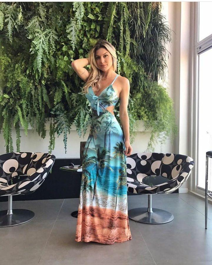 97d68680f vestido feminino- decote amarrar estampado longo verão 2018. Carregando zoom .