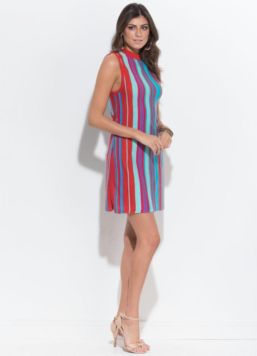 Vestido Feminino Em Tricot Listras Coloridas Bloguerinha