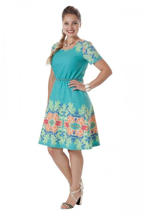 044802997c Vestido Feminino Estampado Evangélico Barrado Floral + Forro - R  99 ...