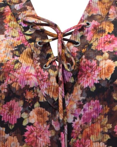 vestido feminino estampado floral decote v vermelho seiki ni