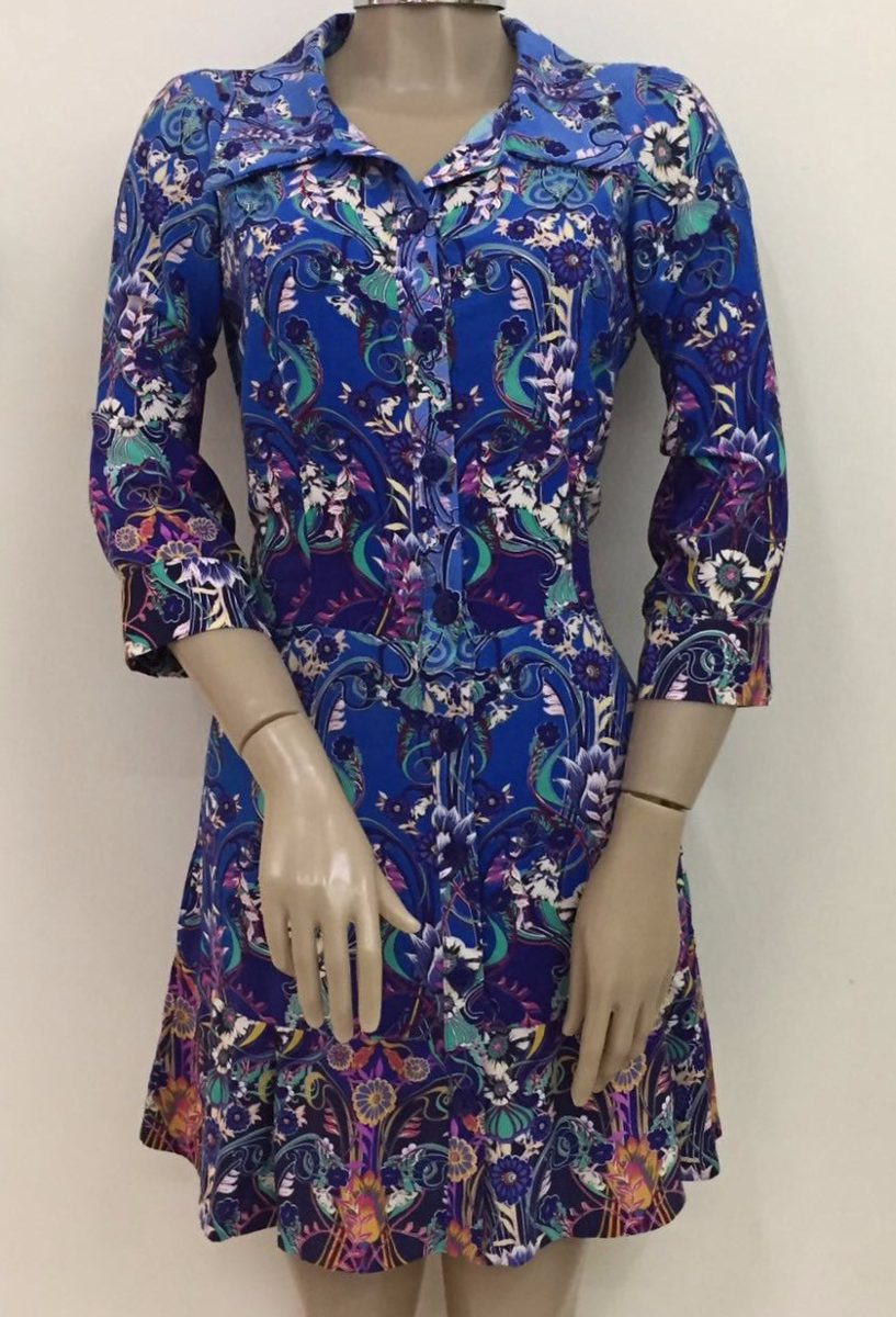 ea9d1512c vestido feminino estampado manga 3 4 de viscose. Carregando zoom.