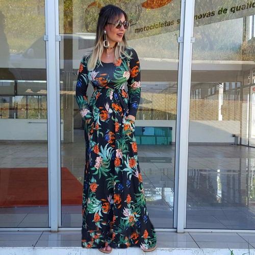 vestido feminino evangélico manga viscolycra bolsos 2753