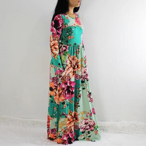 vestido feminino evangélico manga viscolycra bolsos 2842