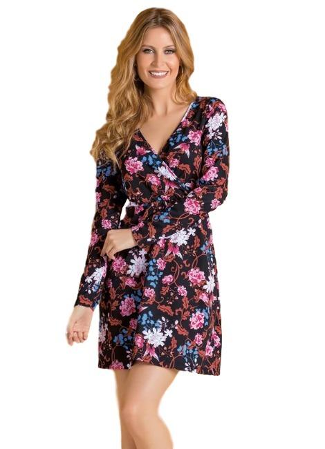 3544ca08ce Vestido Feminino Floral Com Decote Transpassado Manga Longa - R  59 ...