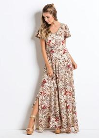 1ee9b8417 Vestido Longo Quintess Floral Vermelho Com Fenda - Calçados, Roupas ...
