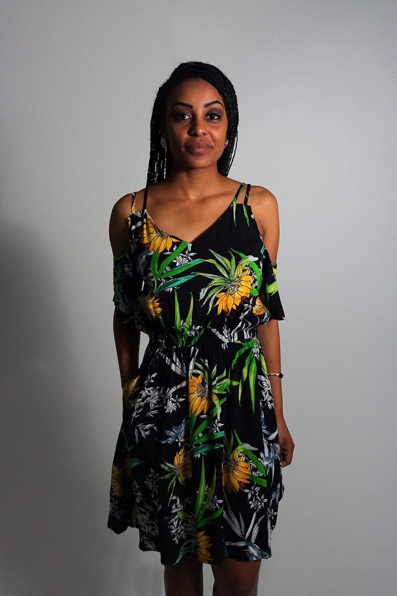c63a1ed91 Vestido Feminino Floral Open Shoulder Preto - R$ 57,88 em Mercado Livre