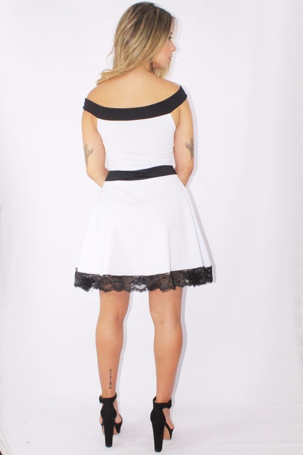 d80ba3691 vestido feminino godê com renda e laço preto e branco moda. Carregando zoom.
