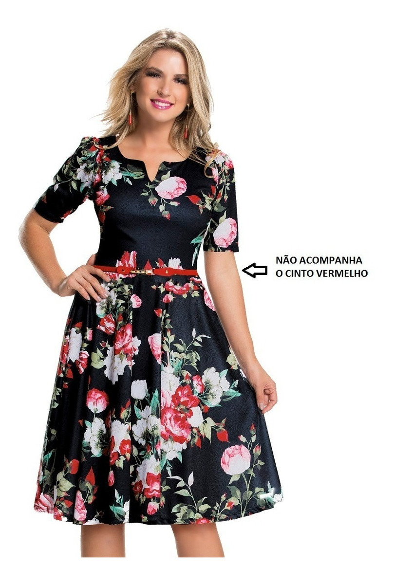 8f7941a39 vestido feminino godê midi moda evangélico plus size barato. Carregando  zoom.