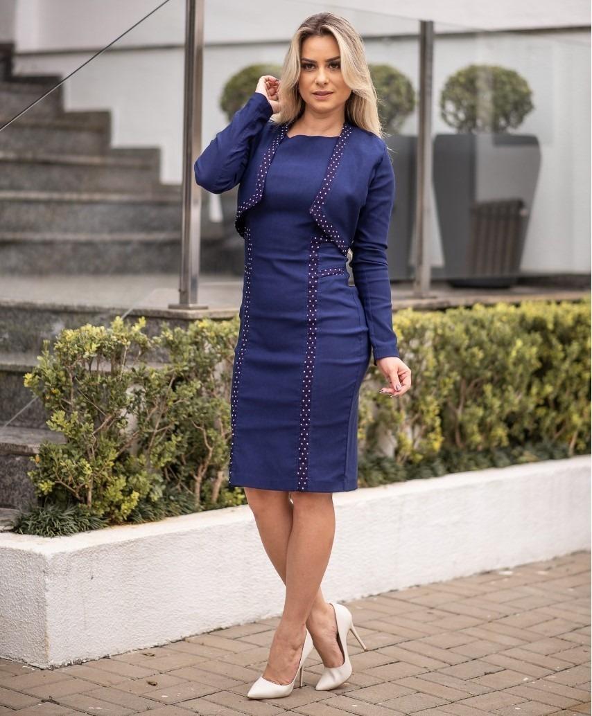 1e79fb9bb vestido feminino inverno midi + bolero festa moda evangélica. Carregando  zoom.