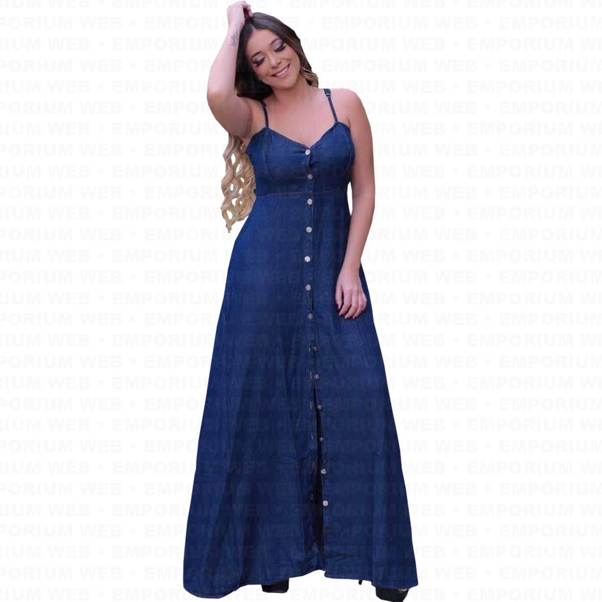 448721f76 vestido feminino jeans longo alcinha tendência moda momento. Carregando  zoom.