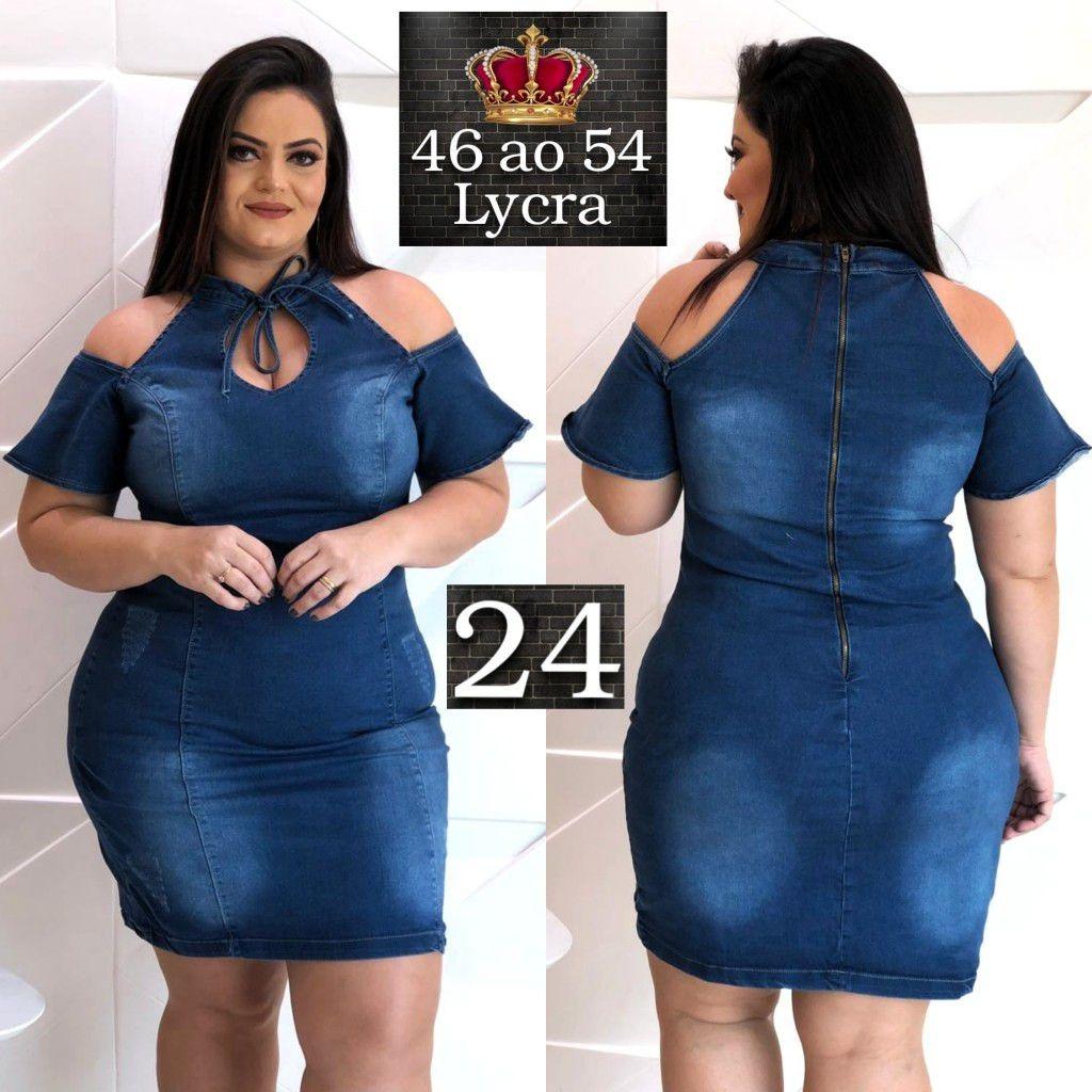 dfcceecfab8d Vestido Feminino Jeans Lycra Plus Size Luxo - Ref. 24 - R$ 112,36 em ...