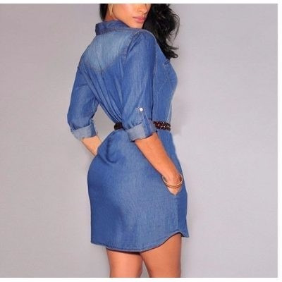 vestido feminino jeans outono, inverno, manga longa! leia