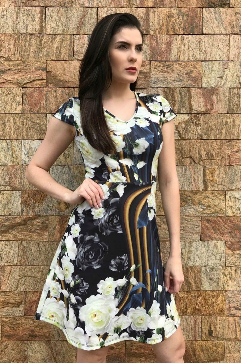 f0b7a7814b vestido feminino lança perfume godê floral com manga. Carregando zoom.