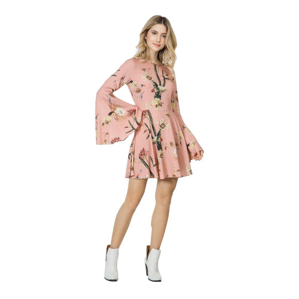 0ce833ca8 vestido feminino lez a lez manga longa evasê tecido sagua... Carregando  zoom.