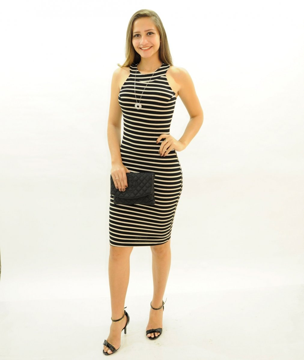 139014ca4 Vestido Feminino Listrado Malha Canelada - R  69