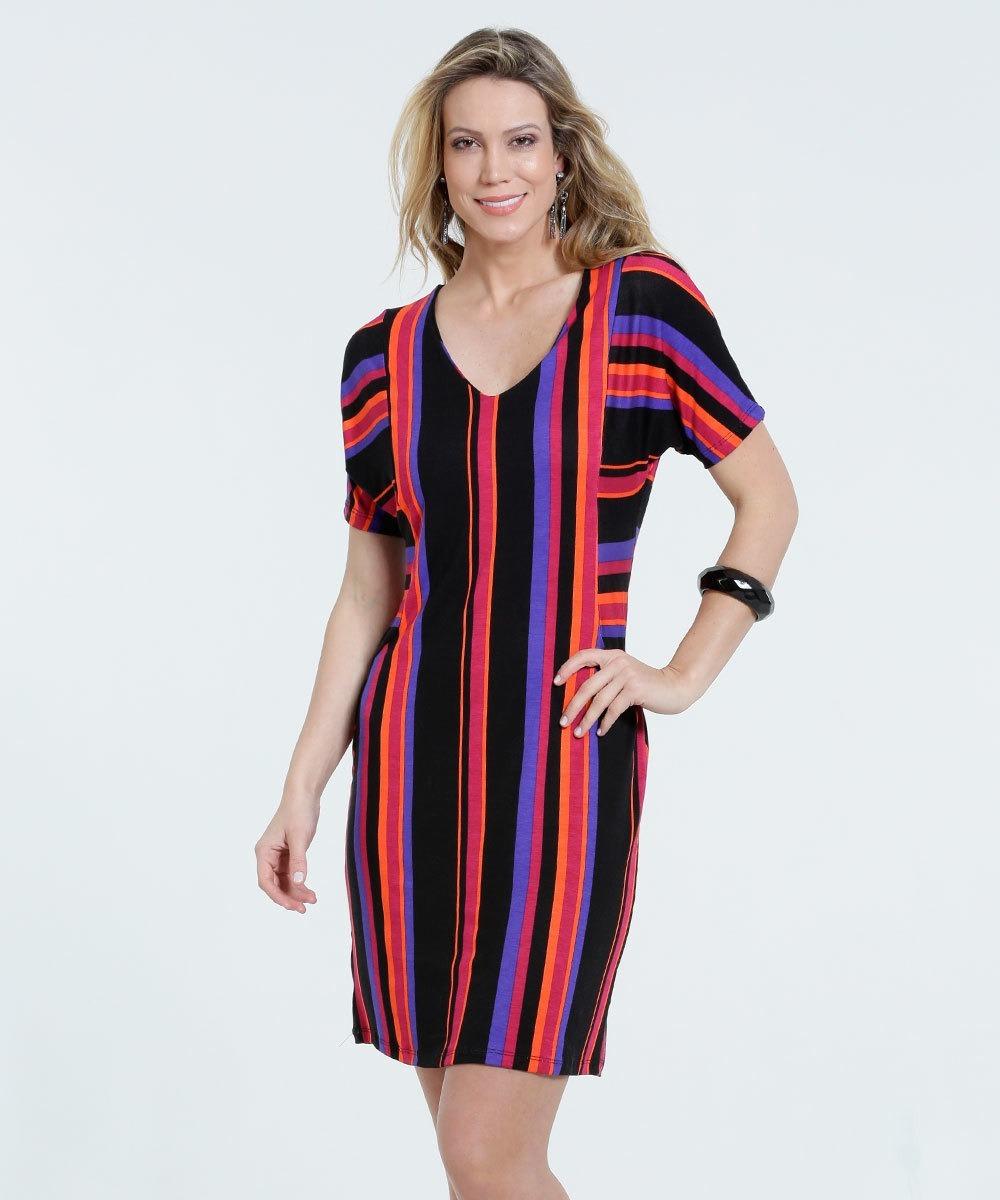 79b9cc8b6 vestido feminino listrado manga curta marisa frete gratis. Carregando zoom.