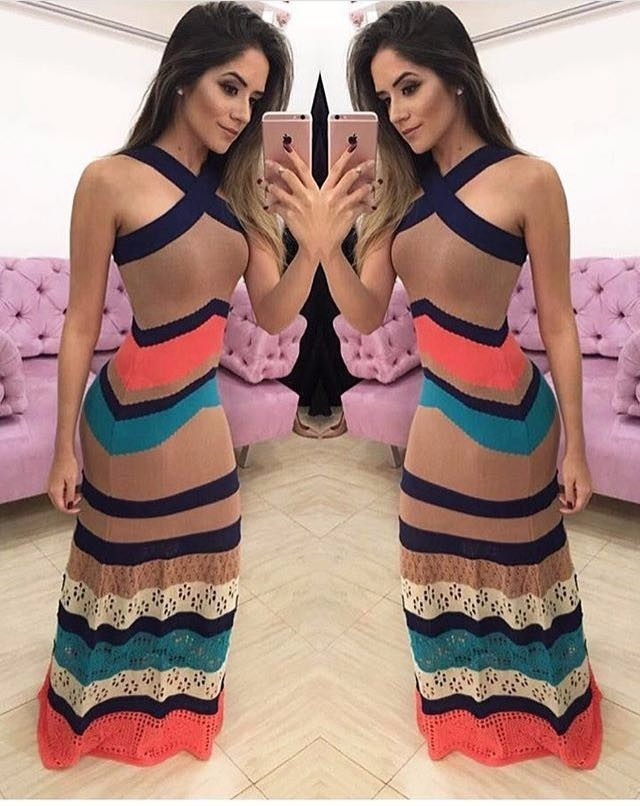 22888f7d3 vestido feminino longo tricot tricô listra v renda inverno · vestido  feminino longo. Carregando zoom.