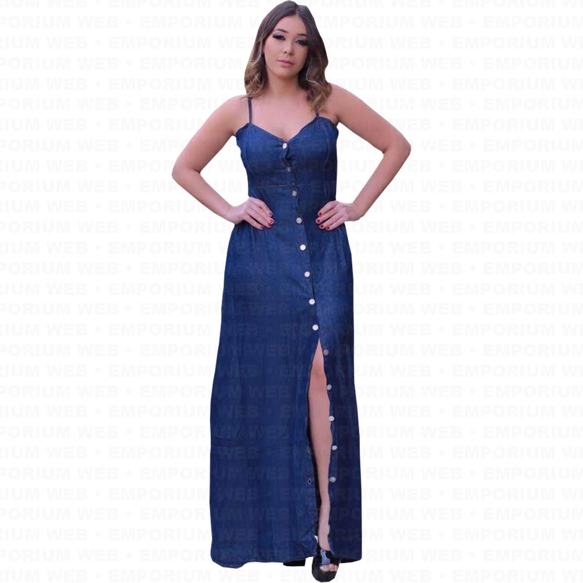 eb63df26a Vestido Feminino Jeans Longo Alcinha Tendência Moda Momento - R$ 120 ...