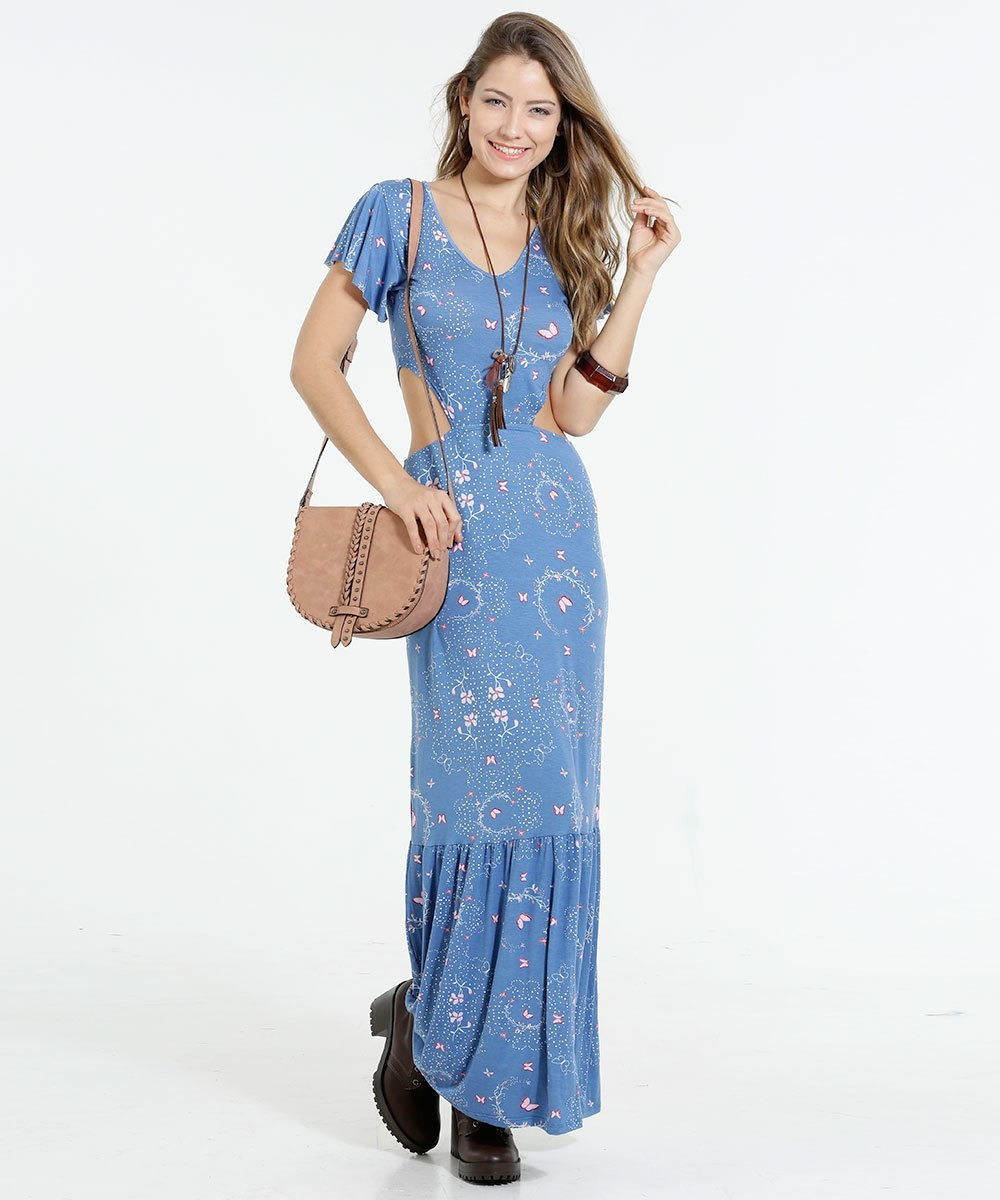 ecc1bc2d78 vestido feminino longo borboletas vazado marisa - tamanho gg. Carregando  zoom.
