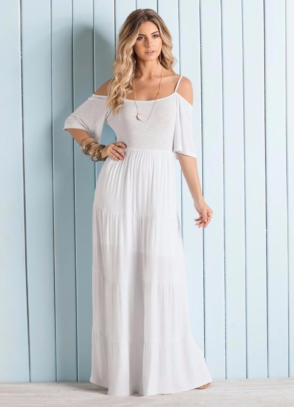 e0afa14799 vestido feminino longo cigana branco moda praia fim de ano. Carregando zoom.