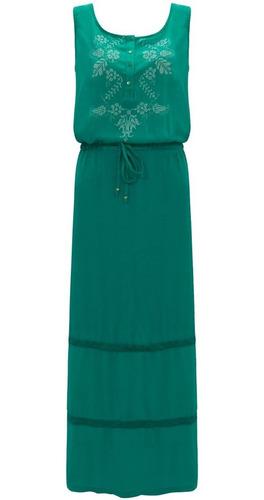 vestido feminino longo com bordado regata moda evangelica