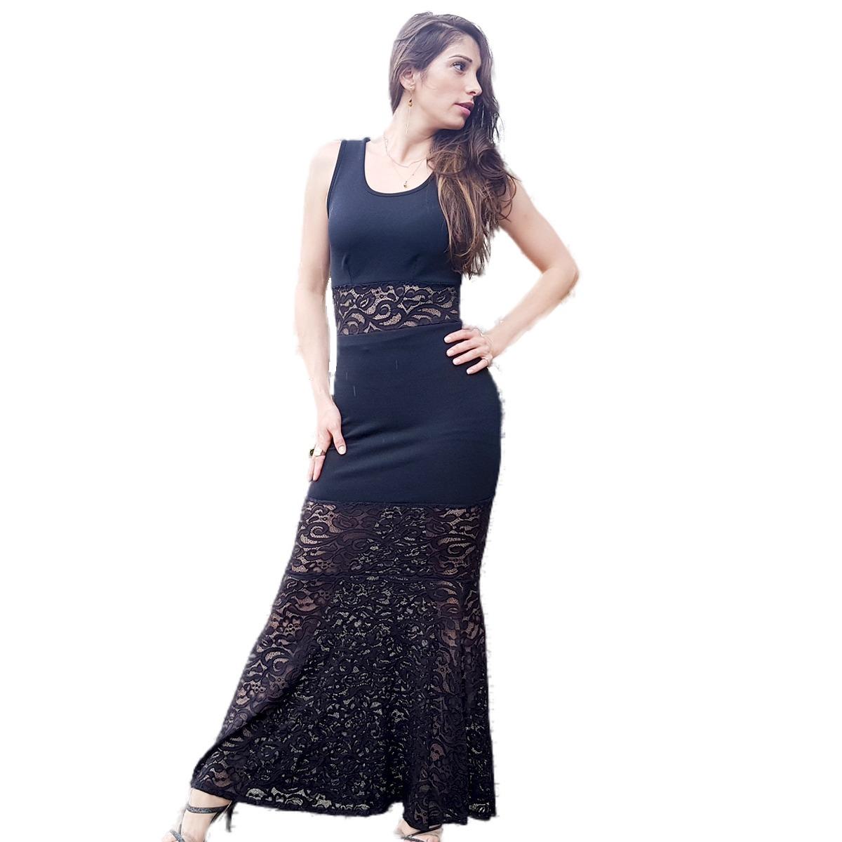 16b620b9a vestido feminino longo de festa renda e malha crepe promoção. Carregando  zoom.