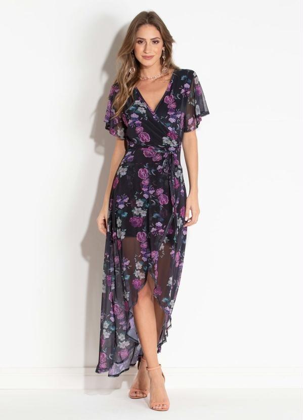 32fcf8619 vestido feminino longo floral dark c  transparência quintess. Carregando  zoom.