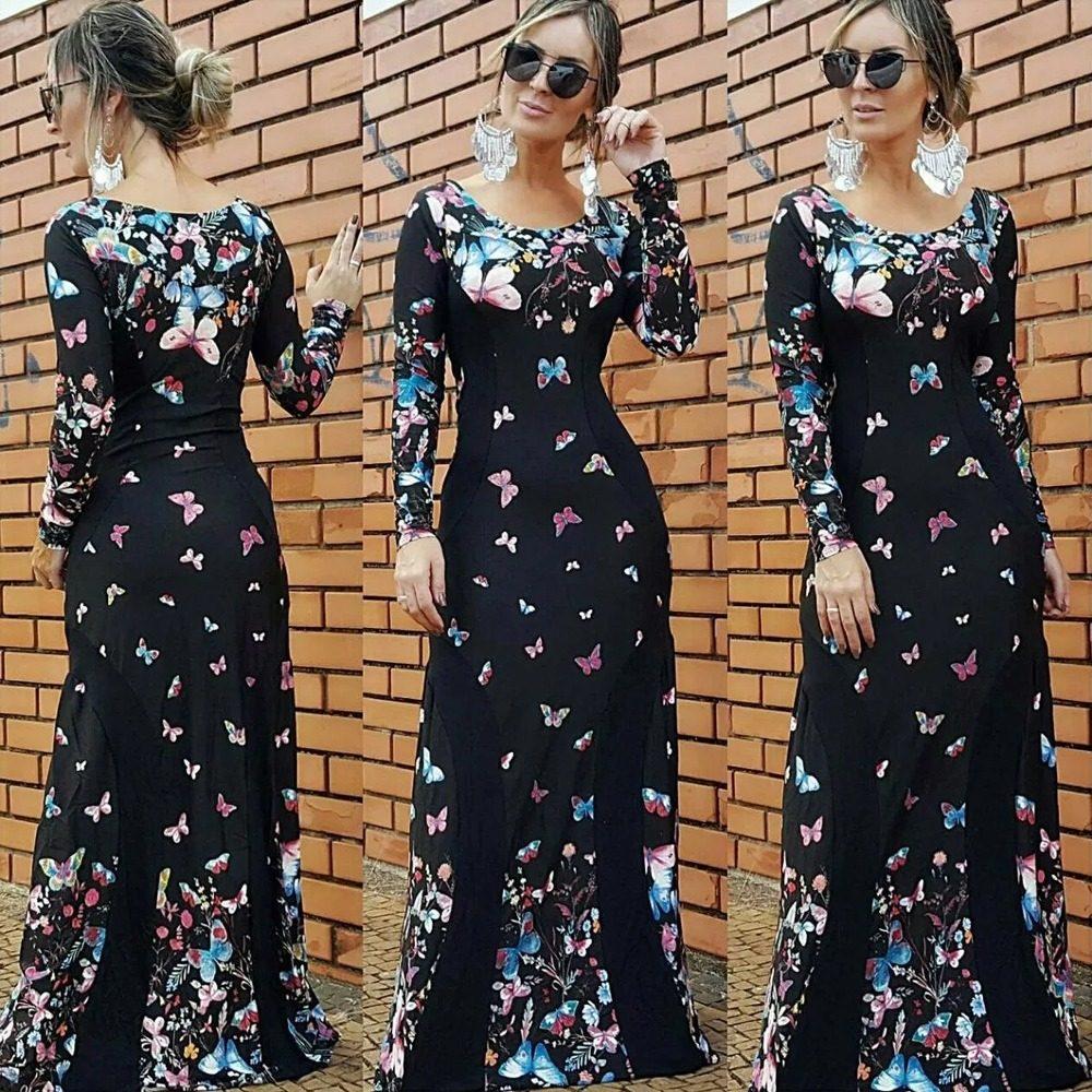 16698bfb25 vestido feminino longo manga longa borboleta insta moda 2018. Carregando  zoom.