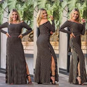 f205154a99 Vestido Longo Kit - Vestidos Casuais Longos Femininas Marrom escuro ...