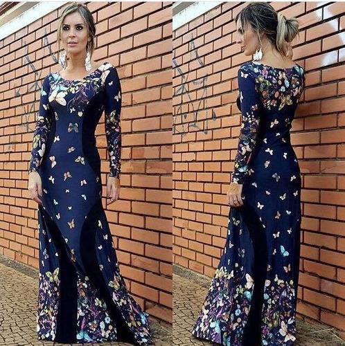 vestido feminino longo manga longa recorte que emagrece!
