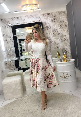 vestido feminino luxo midi c/ brinde moda evangélica