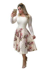 5ef387b0547571 Vestido Midi Luna Floral Com Cinto - Calçados, Roupas e Bolsas Rosa ...