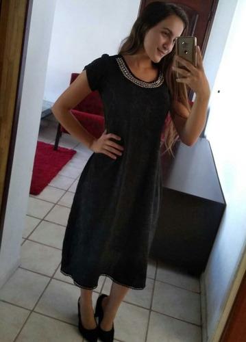 vestido feminino midi crepe pedraria bordado evangelica moda