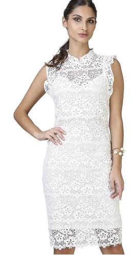 vestido feminino midi em renda guipir festa seiki 380381