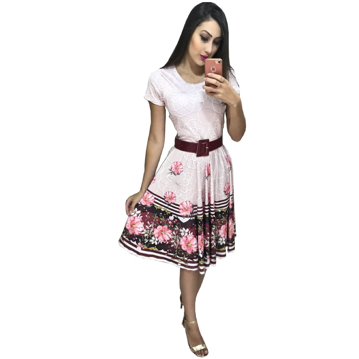 56e444db8a90 vestido feminino midi social floral moda gospel evangelica. Carregando zoom.
