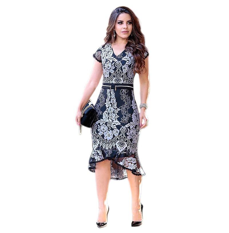 aaf2eaf80a vestido feminino midi social renda festa moda evangélica. Carregando zoom.
