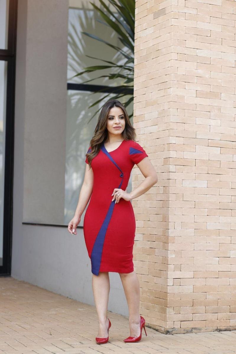 24114246a2 vestido feminino midi tubinho bicolor festa moda evangélica. Carregando zoom .