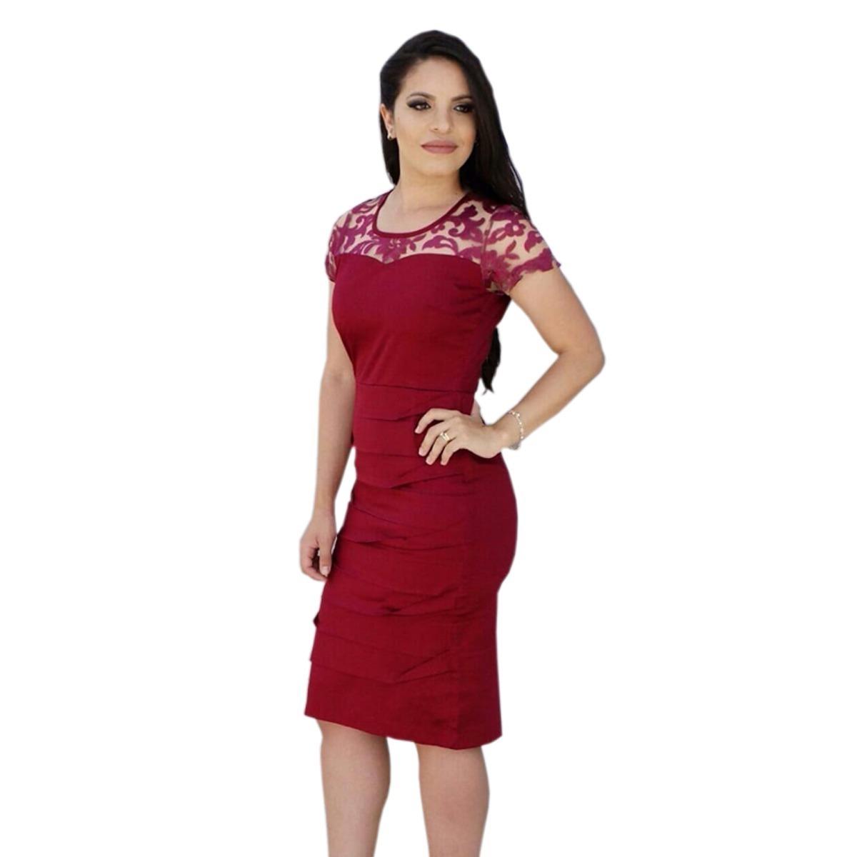 6ef60e934a vestido feminino midi tubinho social festa moda evangélica. Carregando zoom.