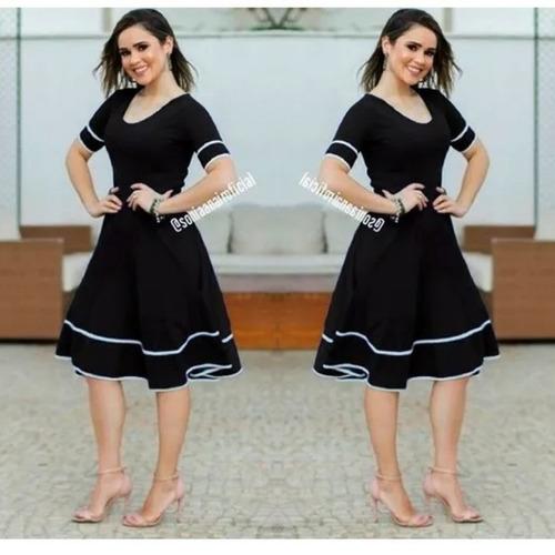 vestido feminino moda evangélica gospel longuete rodado midi