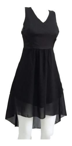 vestido feminino mullet em crepe e voil