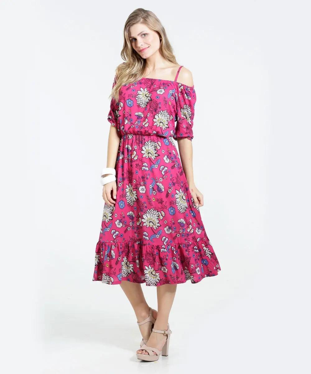 61899ce887 vestido feminino open shoulder   ciganinha floral marisa - m. Carregando  zoom.