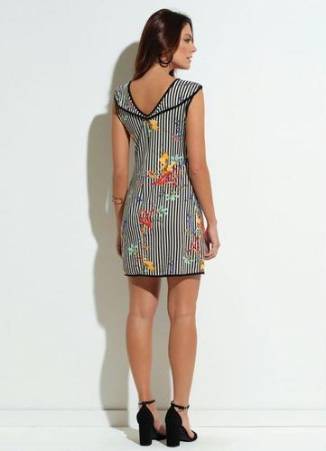 vestido feminino quintess curto floral e listrada